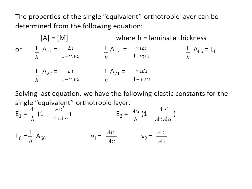 [A] = [M] where h = laminate thickness